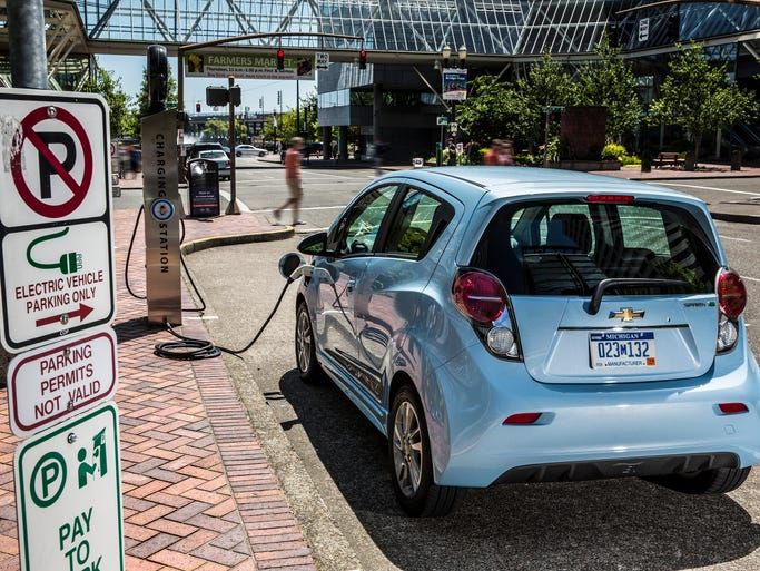 "Electric cars may seem a little too Left Coast"" for Hoosiers, but they are heading this way in larger numbers. Pictured here, the 2015 Chevrolet Spark EV uses Volt technology to reach an 82-mile range. It charges to 80 percent in 20 minutes, 100 percent in seven hours."