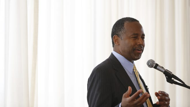 Republican Dr. Ben Carson speaks Tuesday, May 5, 2015 during the Bull Moose Club luncheon in Des Moines, Iowa.