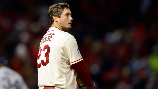 Cardinals third baseman David Freese  reacts after flying out against the Boston Red Sox to end the fifth inning of Game 3 at Busch Stadium.