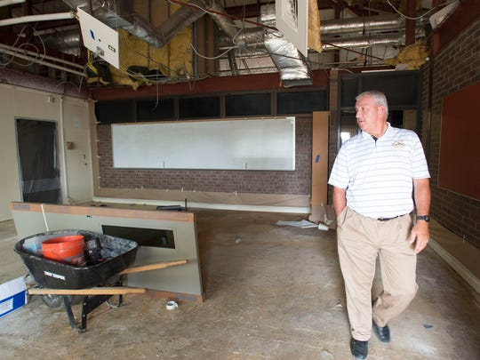 Milton High School Principal Tim Short explores some of the renovations at his school in 2016.
