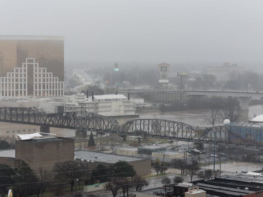 Rain in Shreveport on January 3, 2019.