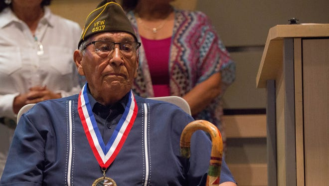 Simon Mendoza, a 94-year-old World War II veteran who fought in the Pacific Theater, was honored by the Las Cruces City Council, Monday Aug. 7, 2017. During a short ceremony at the start of the city council meeting, Mayor Ken Miyagishima awarded Mendoza a medal from the city in appreciation of his service to the country.
