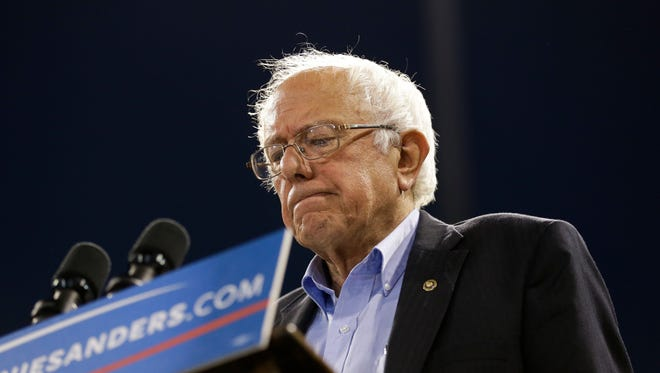 Democratic presidential candidate Sen. Bernie Sanders, I-Vt., pauses while speaking at a rally on Tuesday, May 17, 2016, in Carson, Calif.