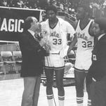 Magic Johnson (33) and Greg Kelser (32) get a taste of the spotlight with Billy Packer, left, and Bryant Gumbel after the Spartans' national semifinal win over Pennsylvania in 1979.