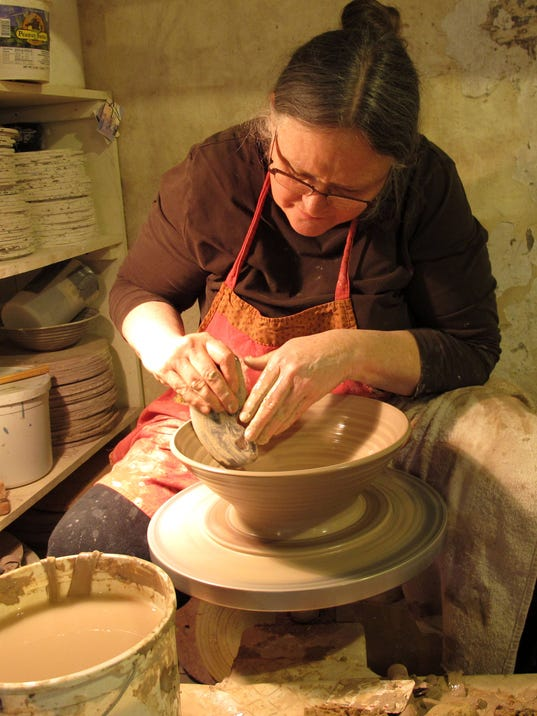 Mineral Point potter at wheel