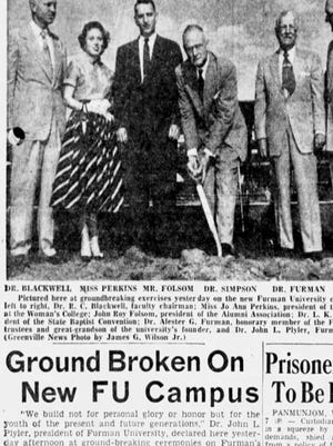 An article from the front page of The Greenville News on Oct. 7, 1953.