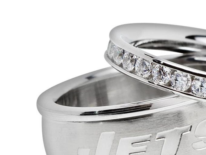 Show your team spirit in style this season. Stainless steel crystal stack ring set, $110 online only at kohls.com. (Gannett/File)