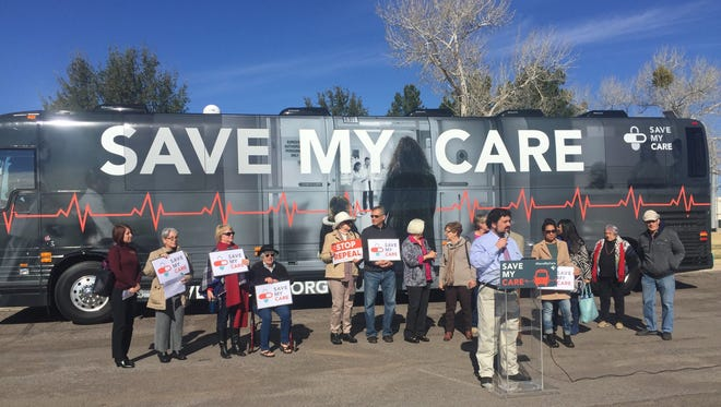 """A group of about 20 people gathered Wednesday, Feb. 15, 2017, for a """"Save My Care"""" rally in Las Cruces. The tour aims to garner support for the Affordable Care Act, which President Trump and congressional Republicans have vowed to repeal."""