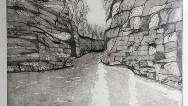 """""""The Passage"""" is the title of one of the etchings to be seen in a show at Inspiration Studios, 1500 S. 73rd St., West Allis, throughout April."""