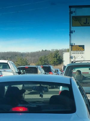 Cars stopped along Interstate 64 during a mid-day accident on Wednesday.