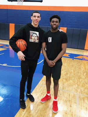 Lonzo Ball, left, and Zack Crockett after a tryout for the Junior Basketball Association on Sunday in Illinois.
