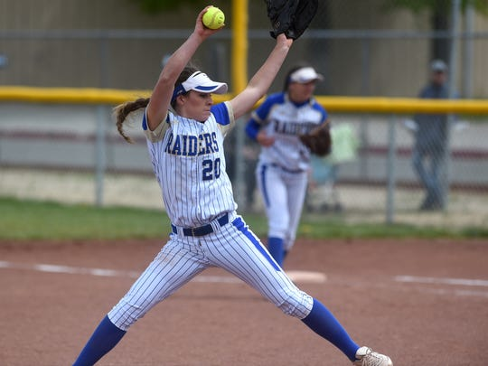 Reed's Julia Jensen delivers while taking on Spanish Springs during their softball game in Sparks on May 6.