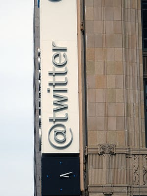 A sign outside the Twitter headquarters in San Francisco as seen in this April 2017 photo.