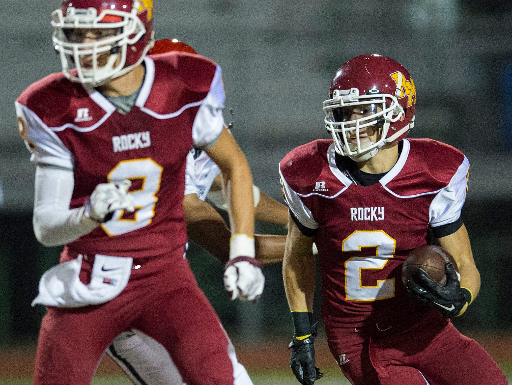 Jordan Williams of Rocky Mountain High School returns a Fairview punt during a game at French Field Thursday, October 8, 2015.