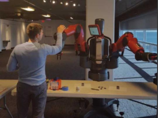 MATC student Marcus Lewandowski works on complicated