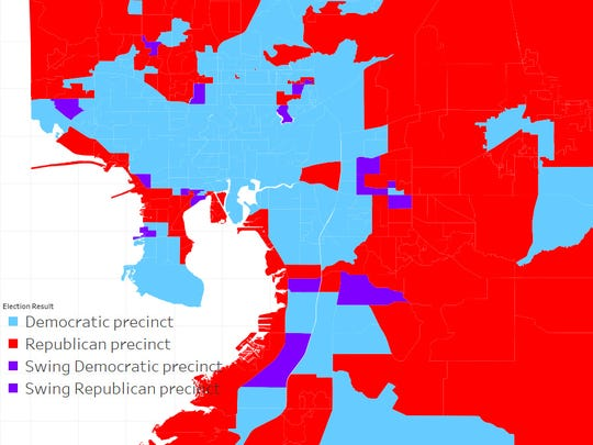 Hillsborough County, 2012 presidential election results by precinct. Red precincts voted Republican, blue precincts voted Democratic and purple precincts had a margin of 2 percent or less. Source: Hillsborough County Supervisor of Elections