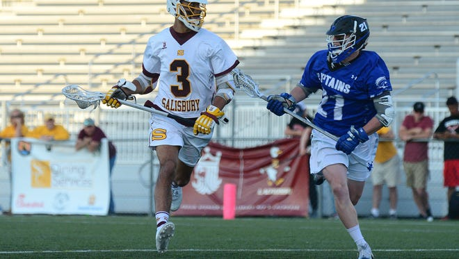 Salisbury University's Zach Pompea (7) sets up the offense  against Christopher Newport University on Tuesday, May 1, 2018 during the CAC Semi-Finals at Seagull Stadium in Salisbury, Md.