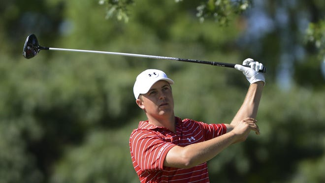 Michael Karas/APJordan Spieth watches his shot from the 12th tee during last Friday's second round of The Barclays. Jordan Spieth watches his shot from the 12th tee during the second round of The Barclays golf tournament, Friday, Aug. 28, 2015, in Edison, N.J. (Michael Karas/Northjersey.com via AP)