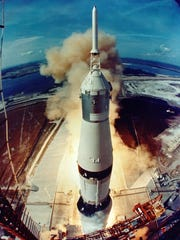 The 363-foot-tall Saturn V rocket carrying the Apollo 11 crew lifted off from Kennedy Space Center on July 16, 1969.