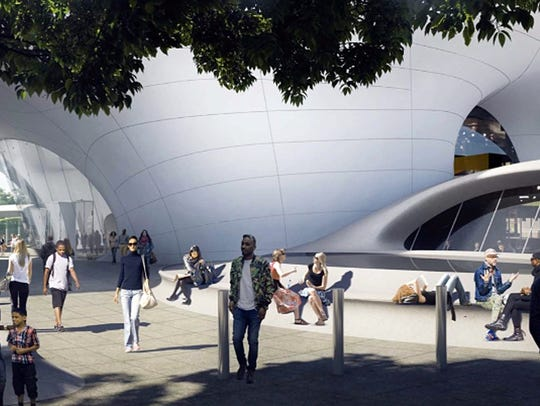 Artist rendering of George Lucas Museum of Narrative