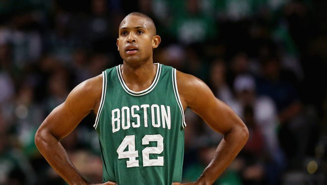 Al Horford #42 of the Boston Celtics looks on during the second quarter against the Brooklyn Nets at TD Garden on October 26, 2016 in Boston, Massachusetts.