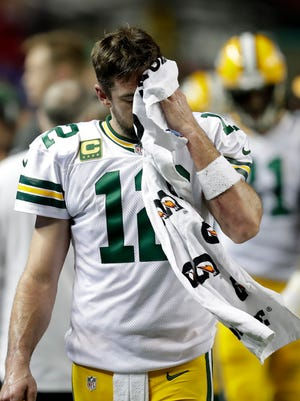 Green Bay Packers quarterback Aaron Rodgers (12) after leaving the game late in the fourth quarter of the Falcons 44 to 21 victory over the Packers.  The Green Bay Packers against the Atlanta Falcons during the NFC Championship game, January 22, 2017 at the Georgia Dome in Atlanta, Ga.