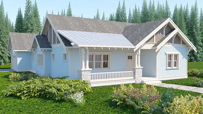 A generous front porch adds a neighborhood-friendly vibe to this Craftsman exterior.