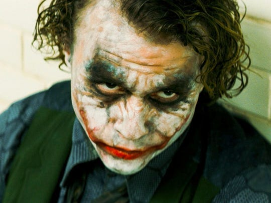 "The classic image of Heath Ledger as the Joker in 2008's ""The Dark Knight."""