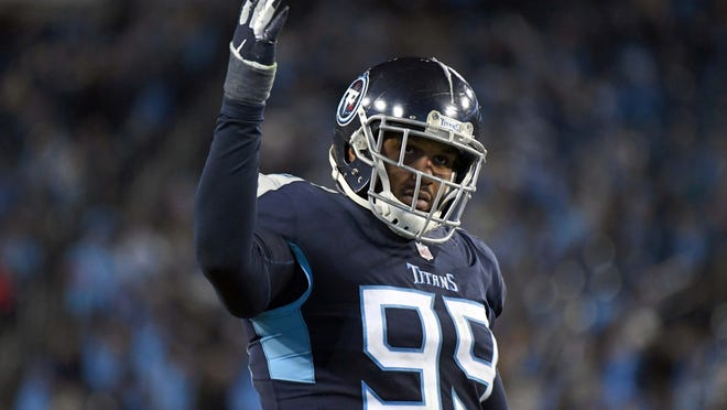 Dec 6, 2018; Nashville, TN, USA; Tennessee Titans defensive end Jurrell Casey (99) reacts in the second half against the Jacksonville Jaguars at Nissan Stadium. The Titans defeated the Jaguars 30-9.  Mandatory Credit: Kirby Lee-USA TODAY Sports