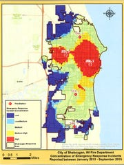 A map shows the concentration of emergency response incidents during the period of Jan. 2013 to Sept. 2015 in Sheboygan.