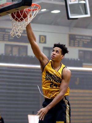 UWM freshman forward Bryce Nze, shown during practice before the 2016-'17 season, had 13 points Sunday afternoon in the Panthers' 77-59 loss to DePaul in Rosemont, Ill.