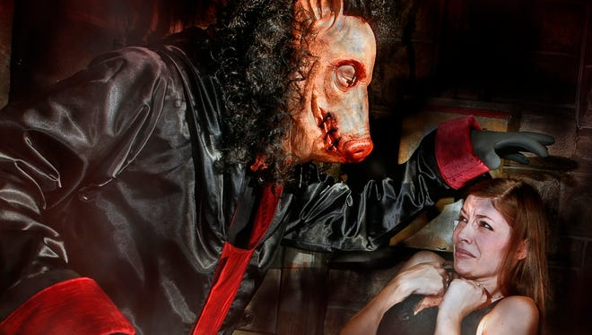 The menacing Pigman,  from the Saw movie franchise, instilling fear in horror fans at the 2009 Universal Studios Halloween Horror Nights.