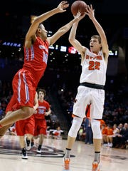 Republic's Broc Smith takes a long range shot against Glendale in the Blue Division final at JQH Arena on December 29, 2016.