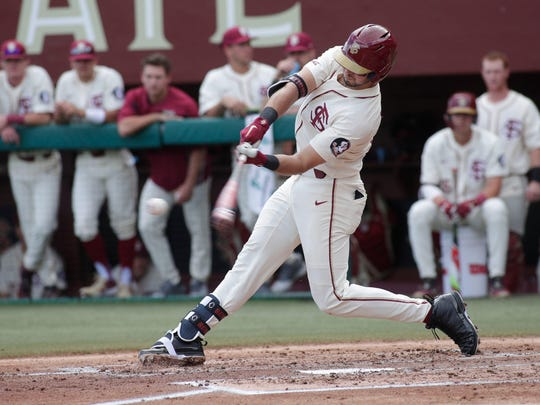 Florida State's Drew Mendoza, here against Youngstown State earlier this season, hit a towering home run Saturday to help the Seminoles beat Notre Dame 7-1.