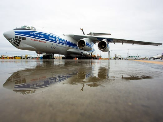 A Russian-built Ilyushin IL-76 cargo jet rests in the