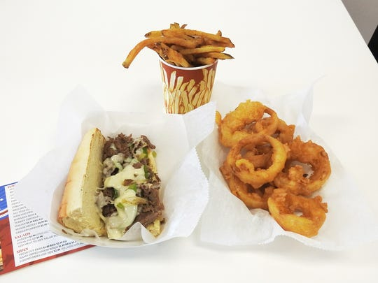The All Star Steak sub with fresh cut fries and hand dipped onion rings highlight a menu featuring more than a dozen sandwiches and salads.