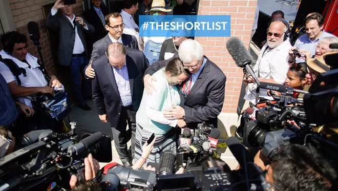 Kim Davis hugs her attorney, Mat Staver, on Sept. 8, 2015, after being released from the Carter County Detention Center in Grayson, Ky.