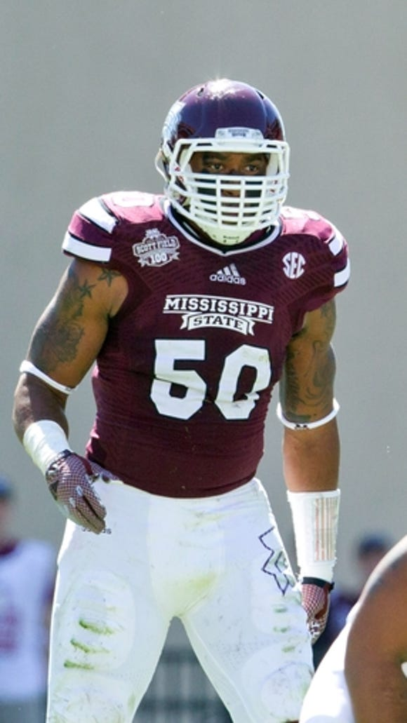 Oct 4, 2014; Starkville, MS, USA; Mississippi State Bulldogs linebacker Benardrick McKinney (50) during the game against the Texas A&M Aggies at Davis Wade Stadium. The Bulldogs defeated the Aggies 48-31. Mandatory Credit: Marvin Gentry-USA TODAY Sports