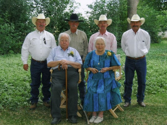 Clay and Jody Miller gather with their four sons, (left to right) Albert, Bill, Jim and Walter, on their 60th wedding anniversary.