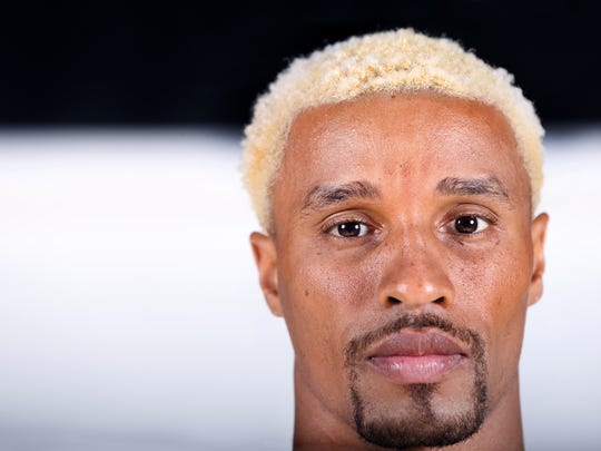 Indiana Pacers point guard George Hill came to Pacers Media Day sporting blond hair on Monday, September 28, 2015. Players posed for photo shoots for the team and local media on the floor of Bankers Life Fieldhouse in Indianapolis.