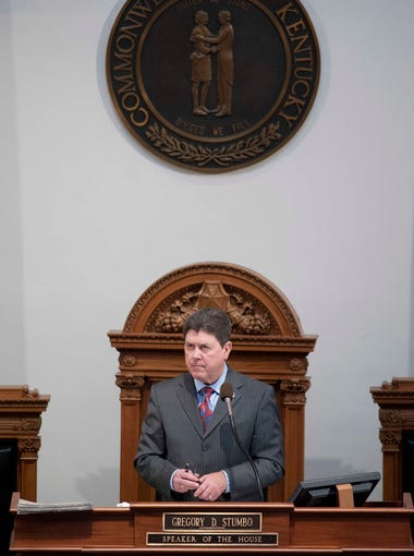 Kentucky Speaker of the House Gregory Stumbo presides over consideration of the state's budget.  March 12, 2014