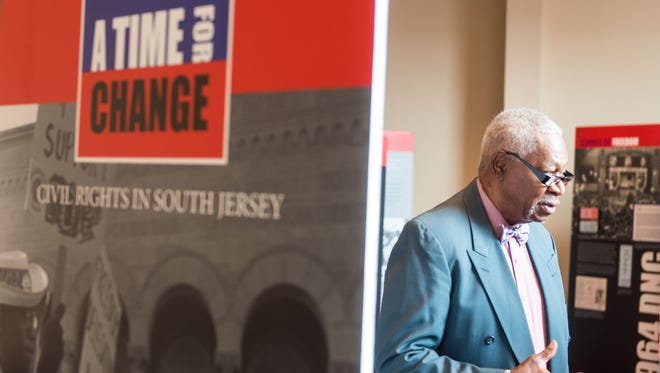Multicultural Week exhibits include the African-American Heritage Museum of Southern New Jersey. Here, founder Ralph Hunter talks with students at last year's event.