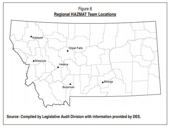 The map shows the locations of hazardous materials teams in Montana.