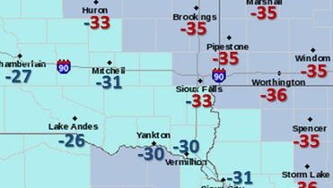 This National Weather Service graphic shows the coldest wind chills in the region Wednesday morning.