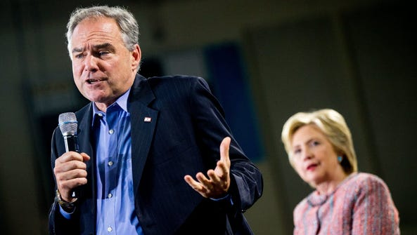 Tim Kaine and Hillary Clinton at a rally in Annandale,