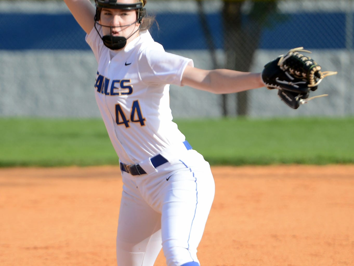 Jackson Christian pitcher Kayla Forsythe winds back for a pitch during their game against Madison, Monday.