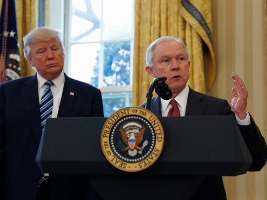President Donald Trump and his attorney general, Jeff Sessions, together in the Oval Office on Feb. 9, 2017. (AP Photo/Pablo Martinez Monsivais, File)