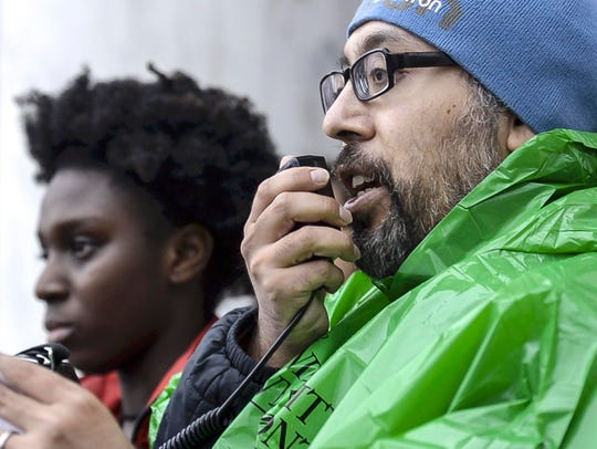 John Meija, a staff member at the University of Vermont, speaks to a rally organized by NoNames for Justice at UVM in Burlington on Tuesday, February 21, 2018. Meija is hunger striking until his demands concerning issues of racial justice are met.