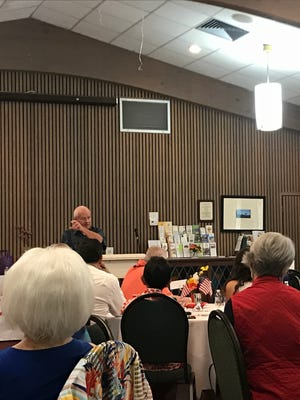 "City councilor Bob Brown speaks to members of the Caxambas Republican Club during the club's ""Hot Potato Issues"" event on Wed. June 14, 2017."