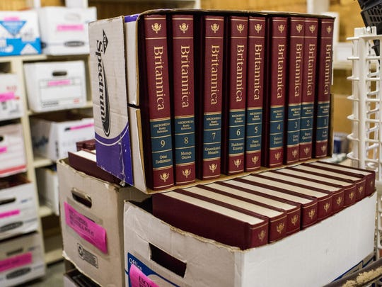 A set of encyclopedia volumes is pictured at the Lafayette Public Library's storage facility in Lafayette, LA, Thursday, Aug. 27, 2015. The Friends of the Lafayette Public Library is hosting their fall book sale at the Heymann Convention Center from Wenesday Sept. 9 through Saturday Sept. 12.